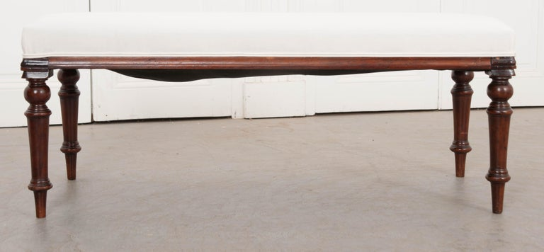 English 19th Century George III Mahogany Upholstered Bench 2