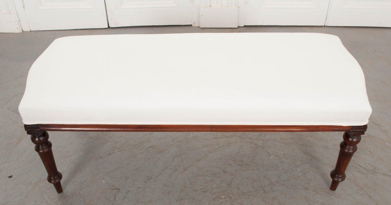 English 19th Century George III Mahogany Upholstered Bench 5