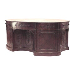 English 19th Century Georgian Style Mahogany Oval Partners Desk with Leather Top