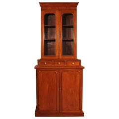 English 19th Century Glassed Bookcase in Light Mahogany