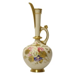 English 19th Century Hand Painted Royal Worcester Porcelain Jug Dated 1888