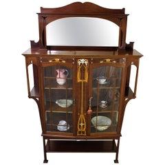 English 19th Century Inlaid Mahogany Art Nouveau Display Cabinet