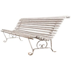 English 19th Century Iron & Wood Garden Bench