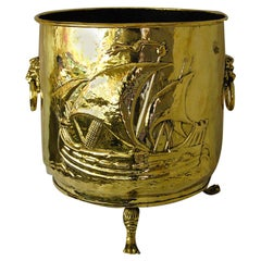 English 19th Century Large Brass Footed Log Bin with Ship Repousse Motif
