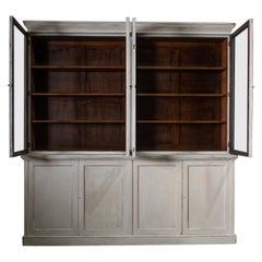 English 19th Century Large Oak Painted Glazed Bookcase