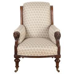 English 19th Century Lion's Head Armchair