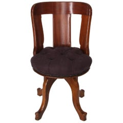 English 19th Century Mahogany Swivel Desk Chair with Upholstered Linen Seat