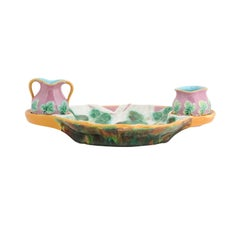 English 19th Century Majolica Serving Tray with Two Pitchers by George Jones