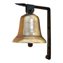 English 19th Century Military Hanging Bell in Cast Bell Metal with Iron Bracket