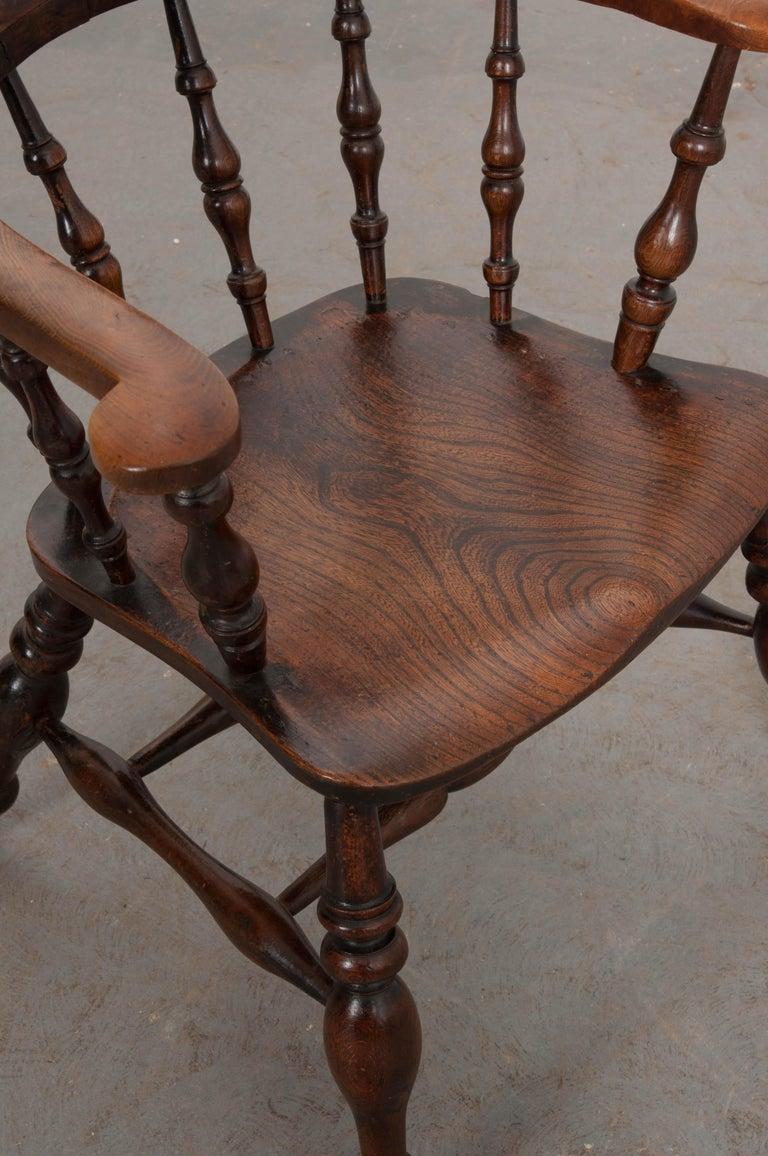 English 19th Century Oak Captain's Chair For Sale 6