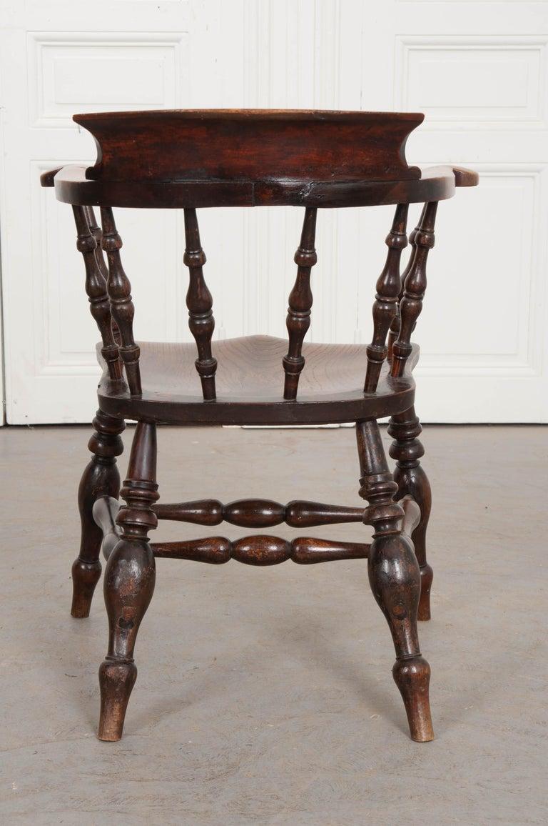 English 19th Century Oak Captain's Chair For Sale 7