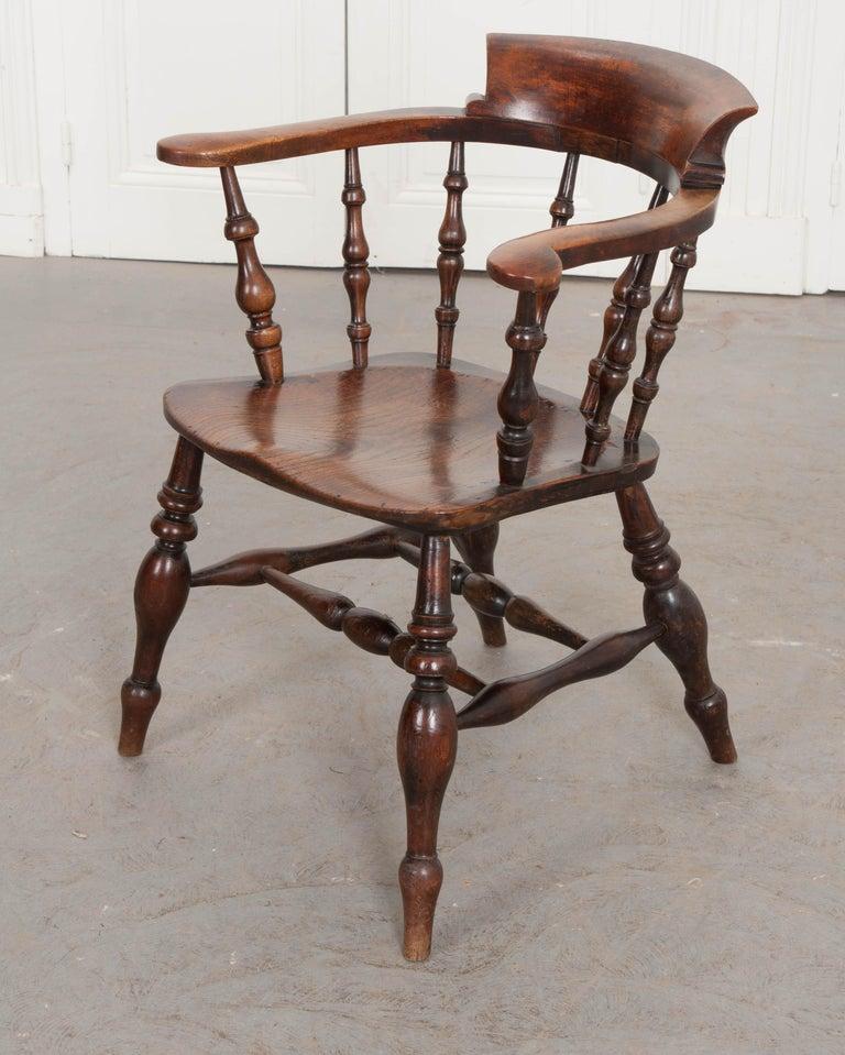 English 19th Century Oak Captain's Chair For Sale 1