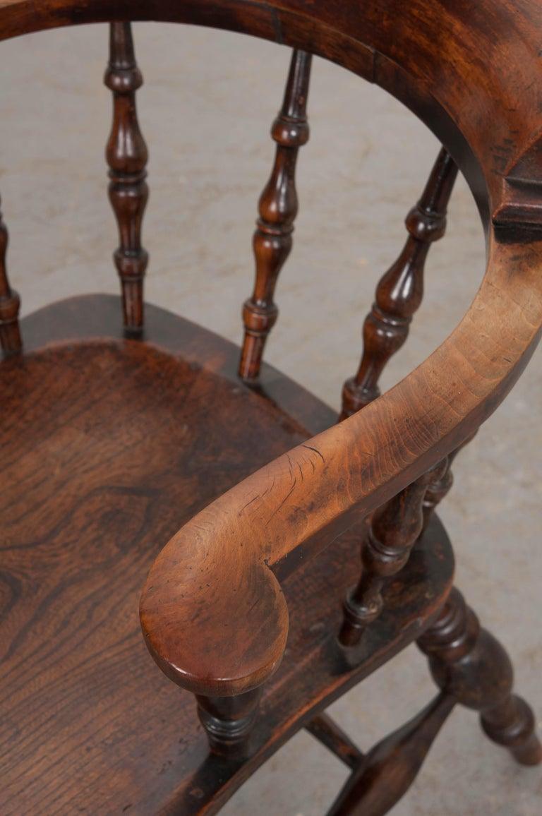 English 19th Century Oak Captain's Chair For Sale 2