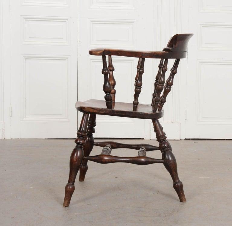 English 19th Century Oak Captain's Chair For Sale 3