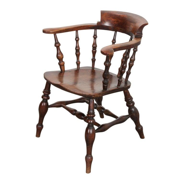 English 19th Century Oak Captain's Chair For Sale