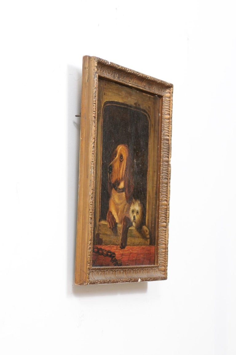 English 19th Century Oil Dog Painting after Landseer's Dignity and Impudence For Sale 5