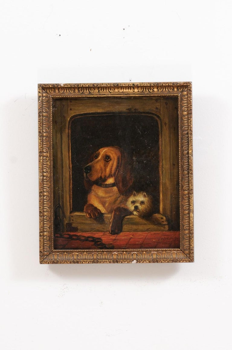 Hand-Painted English 19th Century Oil Dog Painting after Landseer's Dignity and Impudence For Sale