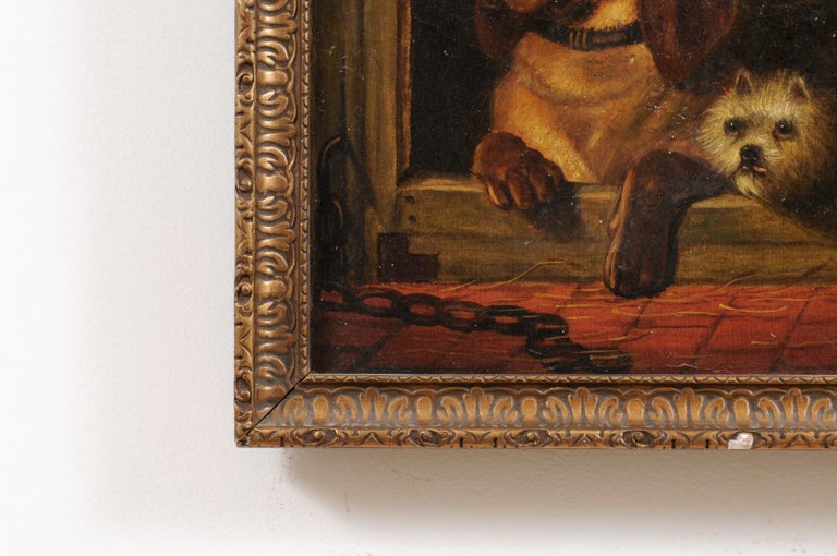 English 19th Century Oil Dog Painting after Landseer's Dignity and Impudence In Good Condition For Sale In Atlanta, GA