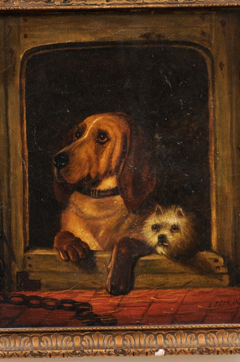 English 19th Century Oil Dog Painting after Landseer's Dignity and Impudence For Sale 3
