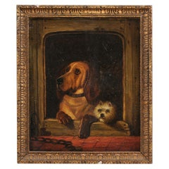 English 19th Century Oil Dog Painting after Landseer's Dignity and Impudence