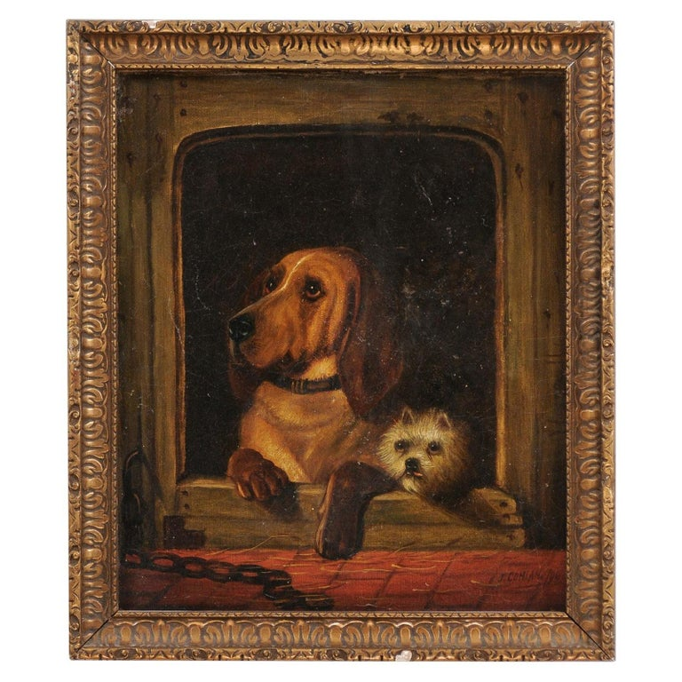 English 19th Century Oil Dog Painting after Landseer's Dignity and Impudence For Sale