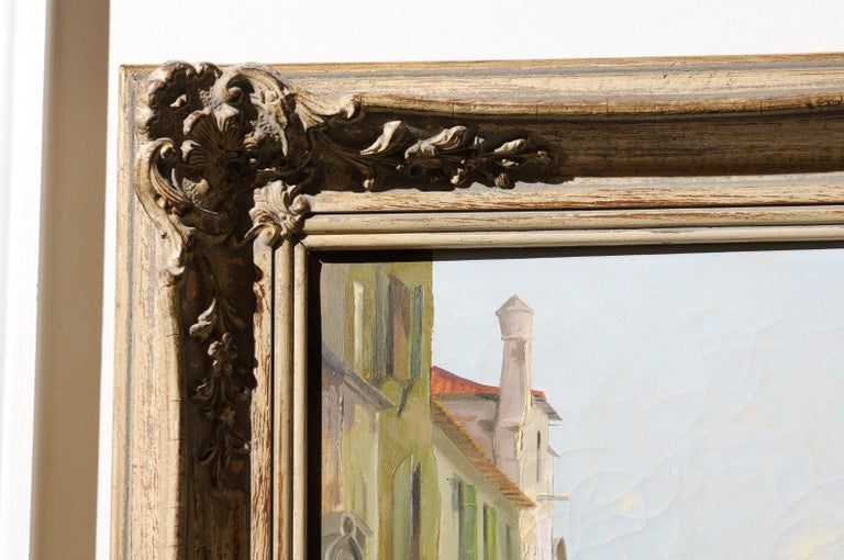 English 19th Century Oil Painting Depicting a Venetian Scene in Carved Frame For Sale 7