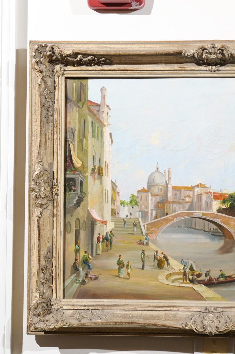 English 19th Century Oil Painting Depicting a Venetian Scene in Carved Frame For Sale 1