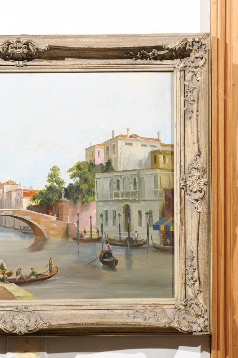 English 19th Century Oil Painting Depicting a Venetian Scene in Carved Frame For Sale 2