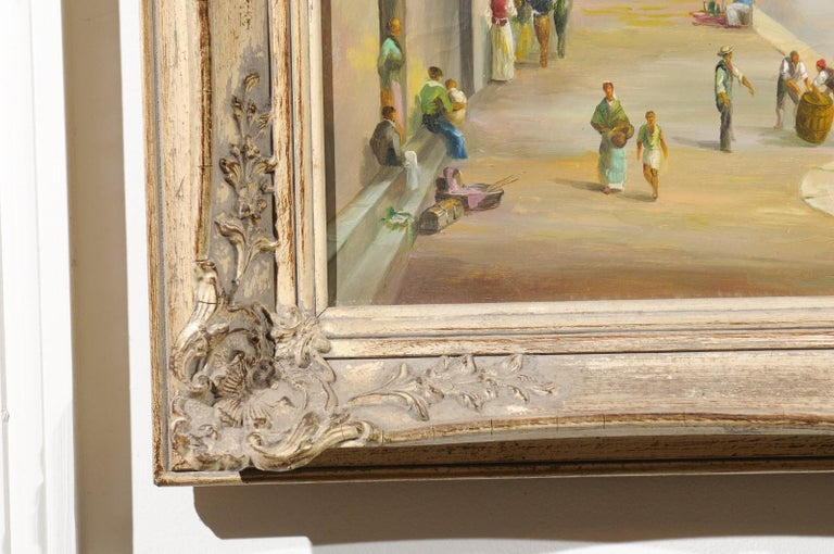 English 19th Century Oil Painting Depicting a Venetian Scene in Carved Frame For Sale 4
