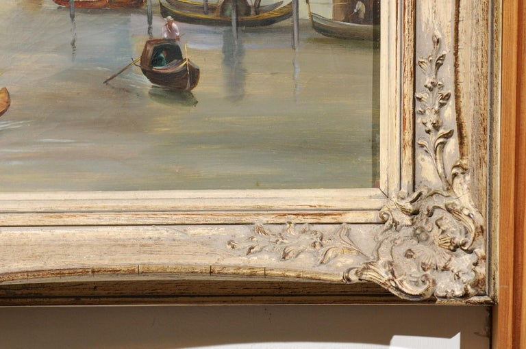 English 19th Century Oil Painting Depicting a Venetian Scene in Carved Frame For Sale 5