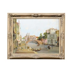 English 19th Century Oil Painting Depicting a Venetian Scene in Carved Frame