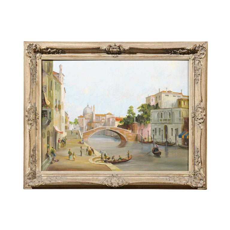 English 19th Century Oil Painting Depicting a Venetian Scene in Carved Frame For Sale