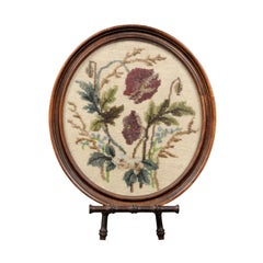 English 19th Century Oval Framed Needlepoint and Beading Tapestry on Stand