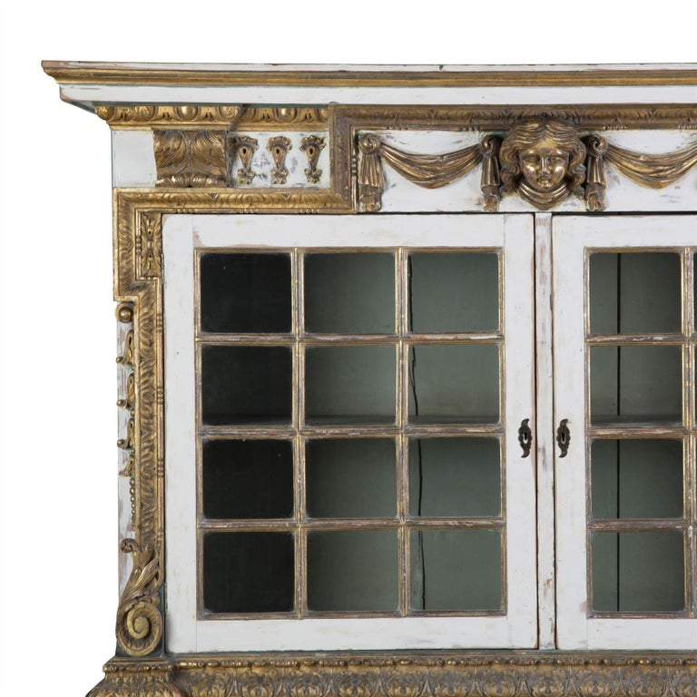 Glass English 19th Century Painted Cupboard For Sale