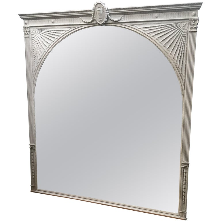 English 19th Century Painted Neoclassical Robert Adam Style Mirror For Sale