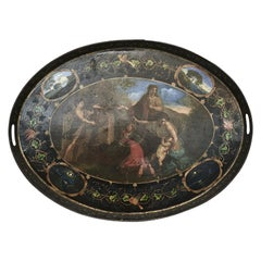 English 19th Century Painted Oval Tole Tray