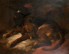 Huge Victorian Oil Painting The Sleeping Bloodhound, after Edwin Landseer