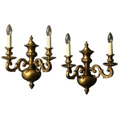 English 19th Century Pair of Bronze Antique Wall Lights