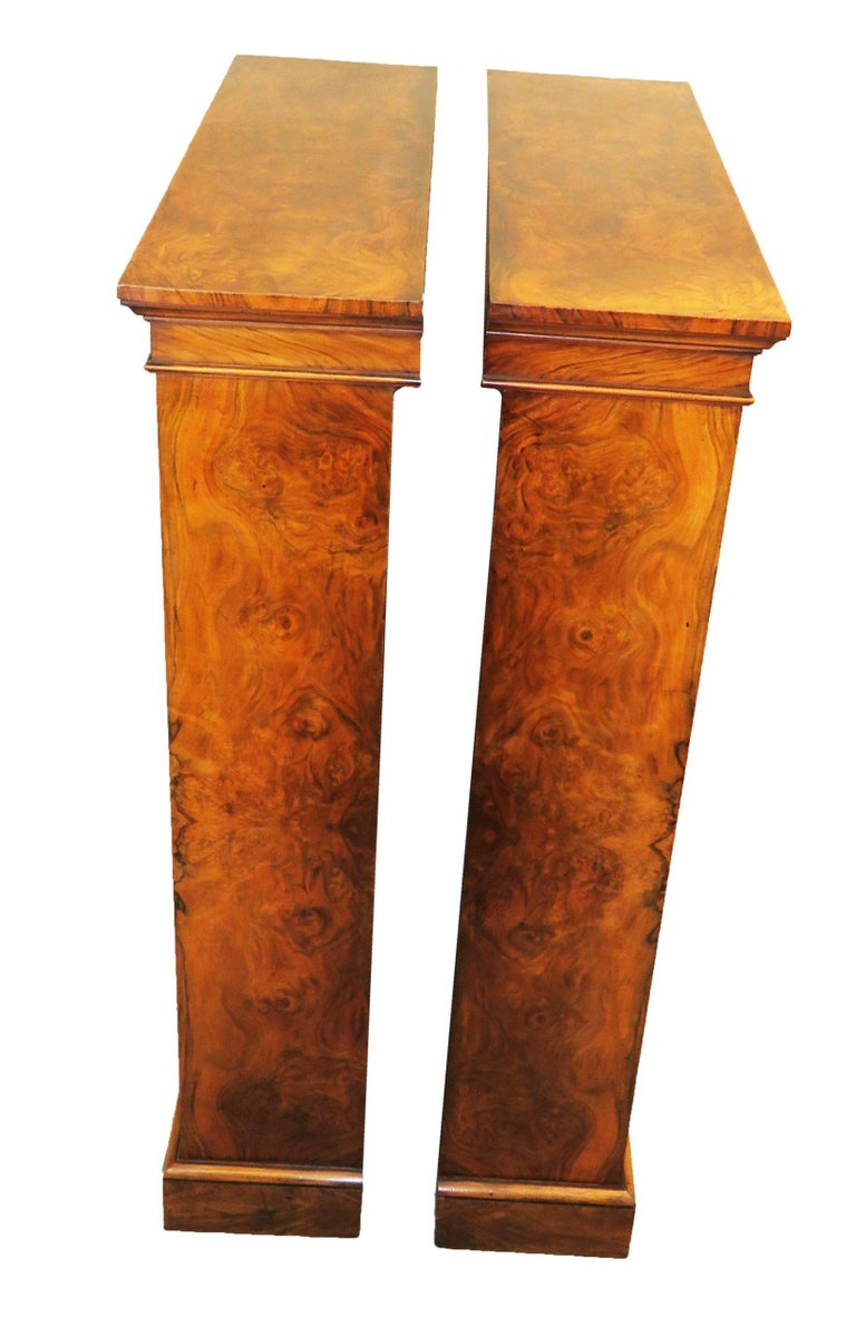 English 19th Century Pair of Burr Walnut Open Bookcases For Sale 1
