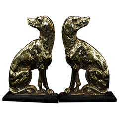 English 19th Century Pair of Cast Brass Dog Doorstops with Iron Plinth