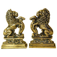 English 19th Century Pair of Cast Brass Rampant Lion Doorstops