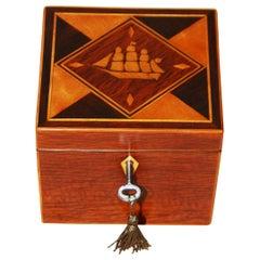 English 19th Century Partridgewood Tea Caddy with Sailing Ship Inlay