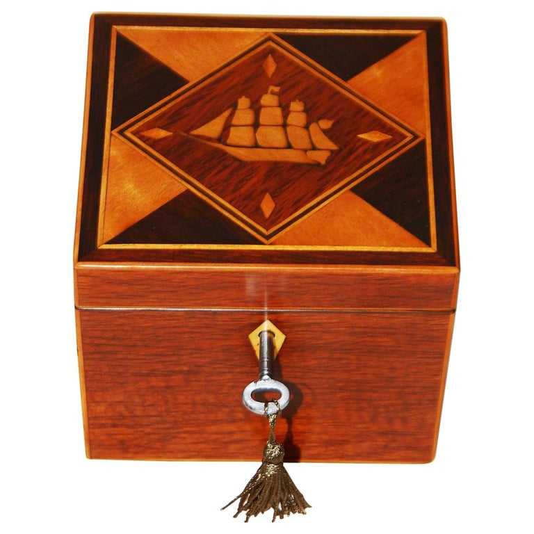 English 19th Century Partridgewood Tea Caddy with Sailing Ship Inlay For Sale