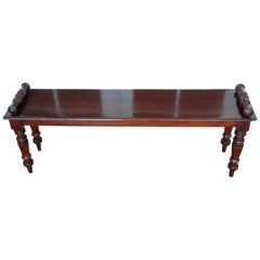 English 19th Century Period Mahogany Hall Bench