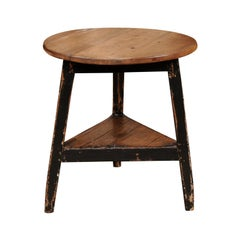 English 19th Century Pine and Black Painted Round Cricket Table