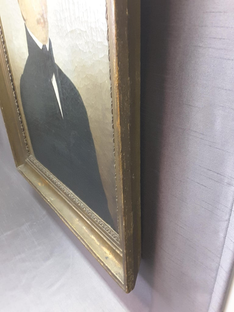 Hand-Painted English 19th Century Portrait of a Gentleman For Sale