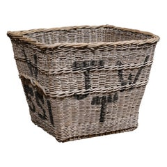 English 19th Century Reclaimed Wicker Mill Basket with Weathered Appearance