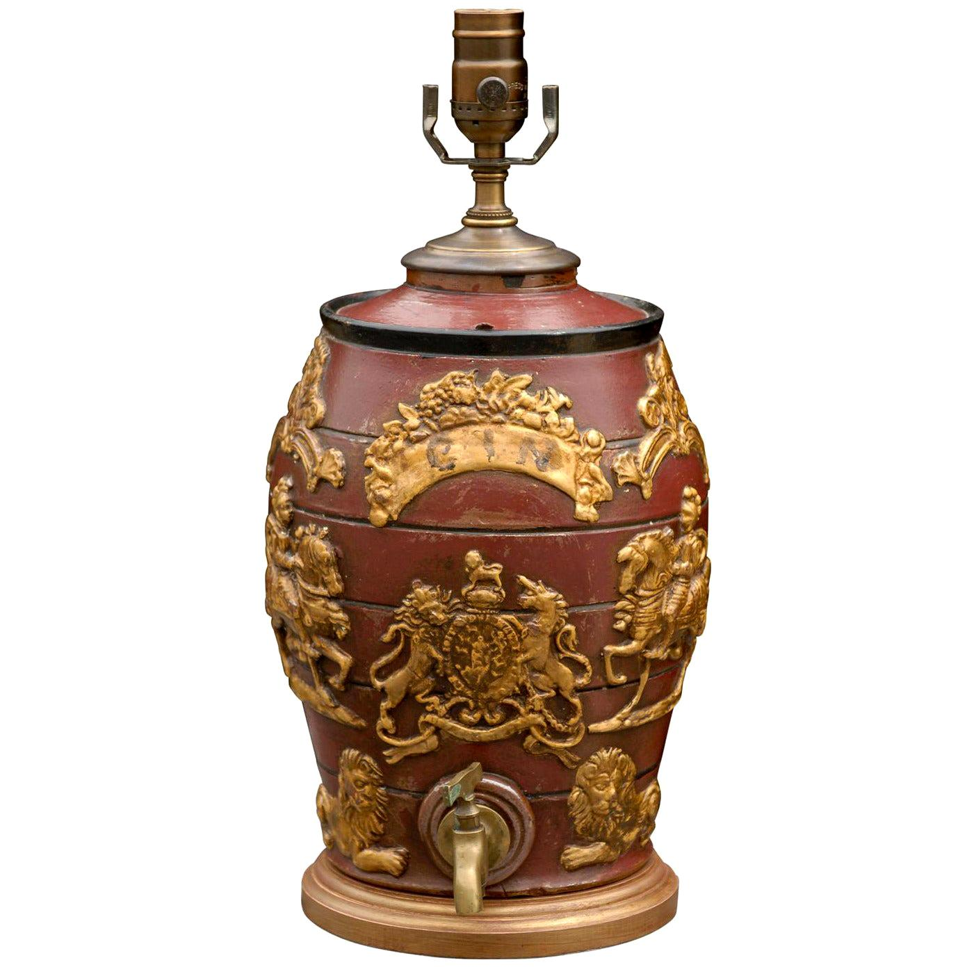 English 19th Century Red Spirit Barrel with Gilt Motifs Made into a Table Lamp