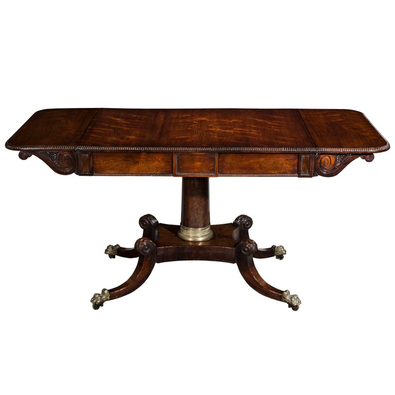 English 19th Century Regency Drop-Leaf Sofa Table or Library Table