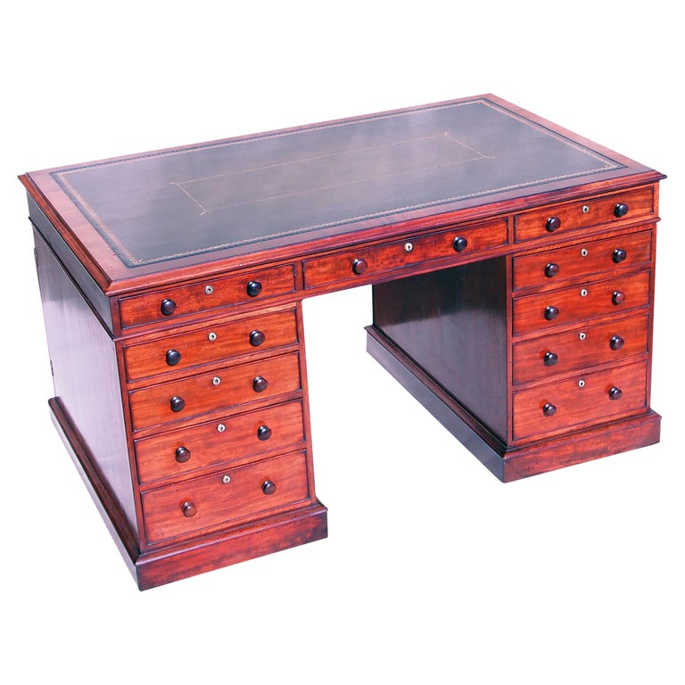 English 19th Century Regency Mahogany Pedestal Partners Desk